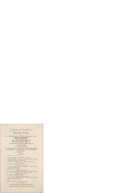 Edvard Grieg giver til Indtægt for et Monument over Rikard Nordraak Konsert: i Logens Festsal; Konsertprogram - Bergen, 1901 10.05