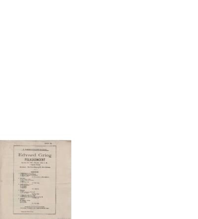 Edvard Grieg Folkekoncert i Logens Festsal; Konsertprogram - Bergen, 1902 10.26
