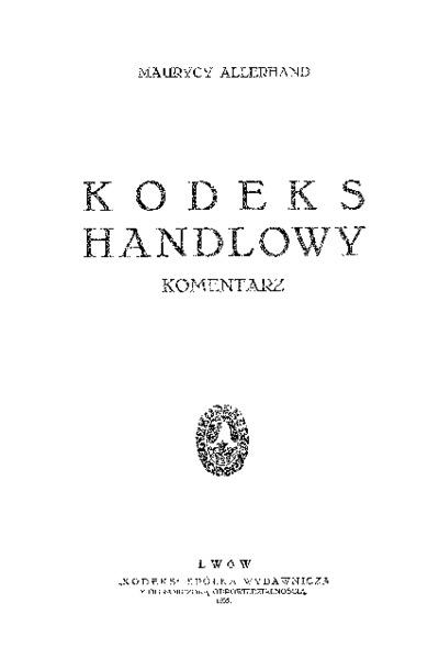 Kodeks handlowy : komentarz