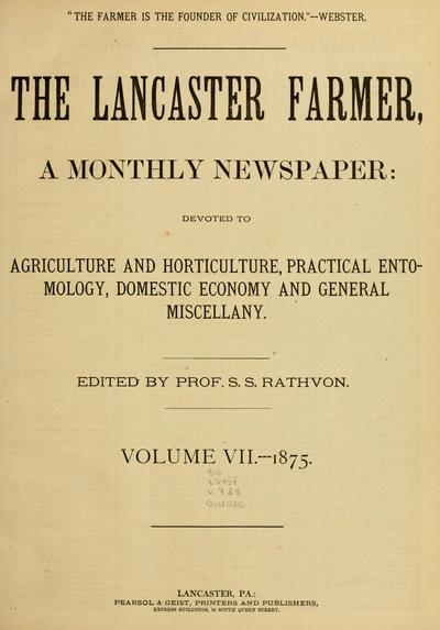 The Lancaster, farmer, a monthly journal: