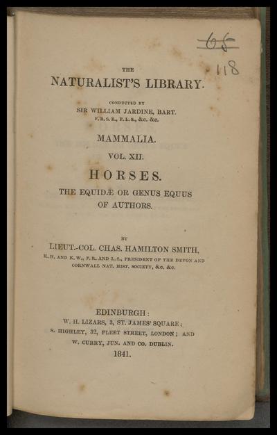 Horses. : [Supplementary material in Charles Darwin's copy].