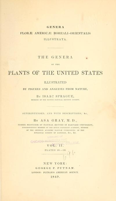 Genera florae Americae boreali-orientalis illustrata. The genera of the plants of the United States illustrated by figures and analyses from nature,