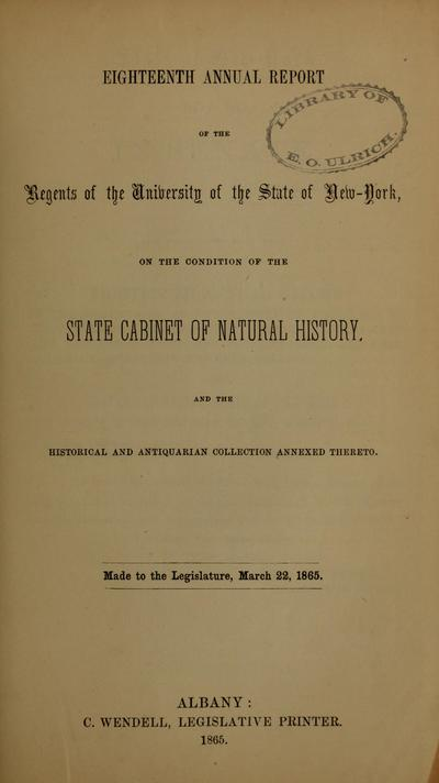 Image from object titled Annual Report of the Regents of the University on the condition of the State Cabinet of Natural History, with catalogues of the same.