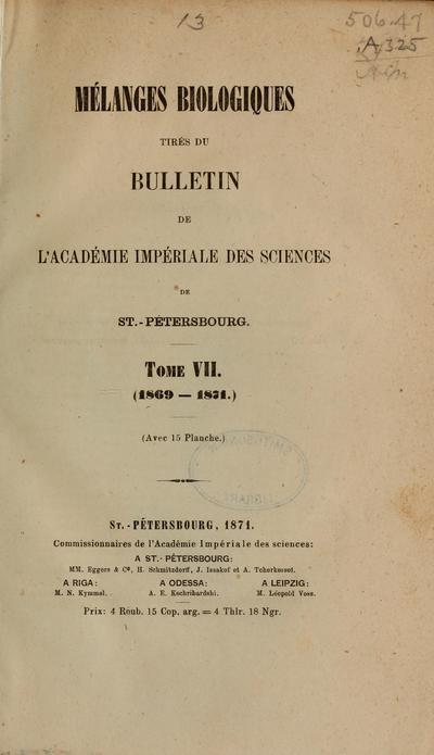 Image from object titled Mélanges biologiques tirés du Bulletin de l'Académie impériale des sciences de St. Pétersbourg.