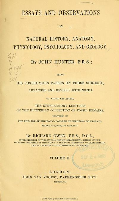 Essays and observations on natural history, anatomy, physiology, psychology, and geology.