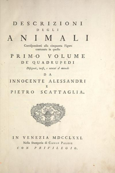 Descrizioni degli animali : corrispondenti alle cinquanta figure continente in questo ... volume de'quadrupedi /