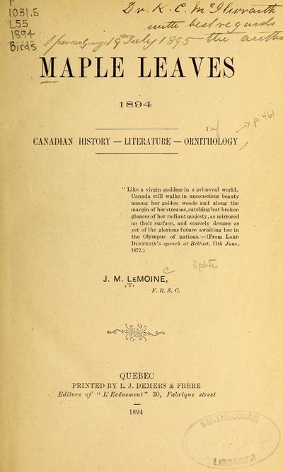 Maple leaves, 1894 : Canadian history, literature, ornithology /