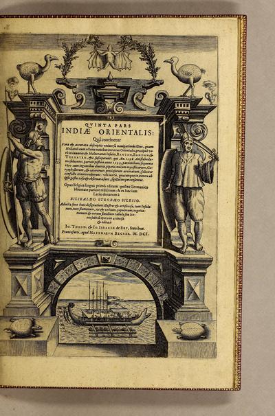 Image from object titled Quinta pars Indiae Orientalis: quâ continetur vera & accurata descriptio vniuersae nauigationis illius, quam Hollandi cum octonis nauibus in terras orientales, praecipuè verò in Iauanas & Moluccanas Insulas, Bantam, Bandam & Ternatem, &c. susceperunt: : qui An. 1598. Amstelredamo soluentes, partim postero anno 1599. partim hunc sequente 1600 cum ingentibus diuitiis, piperis nucum myristicarum, garyophyllorum, & caeterorum, pretiosorum aromatum, feliciter confecto itinere redierunt: vbi iuxtà, quaecunque in itinere ab ipsis gesta, visa & obseruata sunt, sigillatim percensentur. /; Journael ofte dagh-register, inhoudende een waerachtigh verhael vande reyse ghedaen 1598.; Qvinta pars Indiae Orientalis: quâ continetur vera & accurata descriptio universae navigationis illius, quam Hollandi cum octonis navibus in terras orientales, praecipuè verò in Iavanas & Moluccanas Insulas, Bantam, Bandam & Ternatem, &c. susceperunt.; Vera & accurata descriptio universae navigationis illius, quam Hollandi cum octonis navibus in terras orientales, praecipuè verò in Iavanas & Moluccanas Insulas, Bantam, Bandam & Ternatem, &c. susceperunt.; Vera & accurata descriptio vniuersae nauigationis illius, quam Hollandi cum octonis nauibus in terras orientales, praecipuè verò in Iauanas & Moluccanas Insulas, Bantam, Bandam & Ternatem, &c. susceperunt.