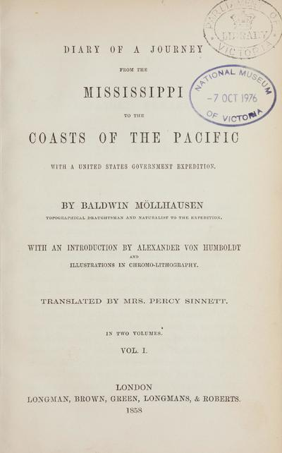 Diary of a journey from the Mississippi to the coasts of the Pacific with a United States government expedition /
