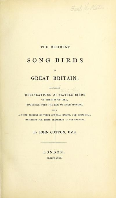 Song birds of Great Britain, etc.