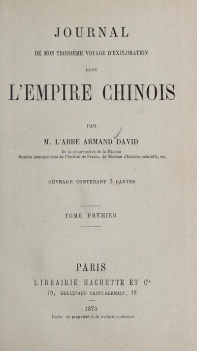 Journal de mon troisième voyage d'exploration dans l'empire Chinois,