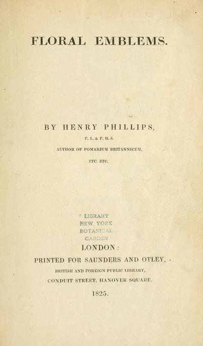 Floral emblems. By Henry Phillips.