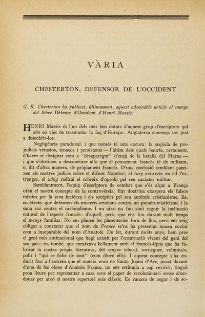 Chesterton, defensor de l'Occident