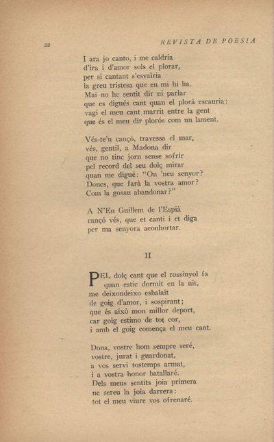 II. Pel dolç cant que el rossinyol fa... [Tres cançons de Bernat de Ventadorn]