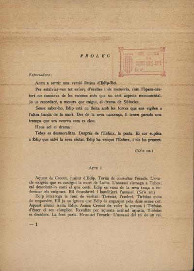 """Text de l'oratori de Jean Cocteau. Èdip Rei (""""Oedipus Rex"""")"""