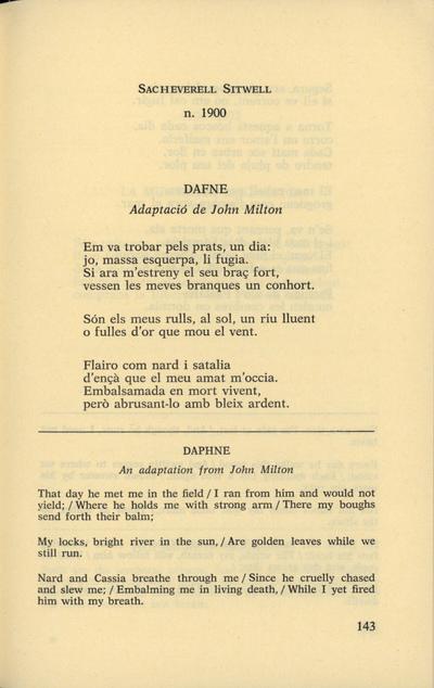 Dafne. Adaptació de John Milton