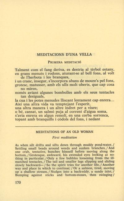 Primera meditació [Meditacions d'una vella]