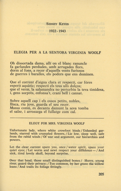 Elegia per a la senyora Virginia Woolf