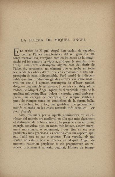 La poesia de Miquel Àngel