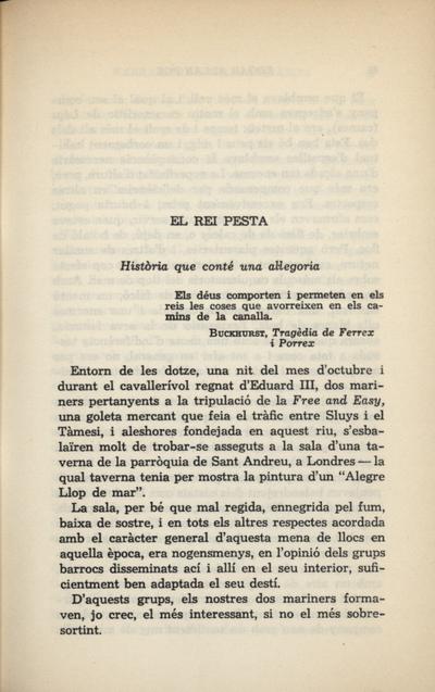 El rei Pesta. Història que conté una al·legoria