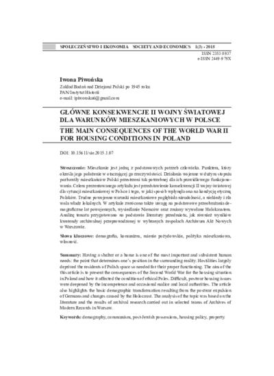 Główne konsekwencje II wojny światowej dla warunków mieszkaniowych w Polsce. Społeczeństwo i Ekonomia = Society and Economics, 2015, Nr 1 (3), s. 93-119