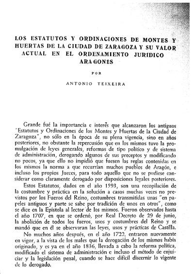 Los estatutos y ordinaciones de montes y huertas de la ciudad de Zaragoza y su valor actual en el ordenamiento jurídico aragonés.