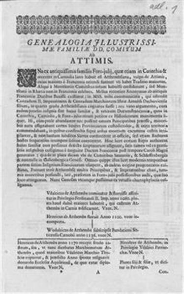 Genealogia illustrissimae familiae dd. comitum ab Attimis