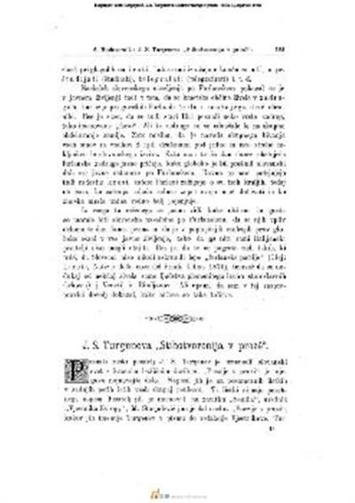 J.S. Turgeneva »Stihotvorenija v proze