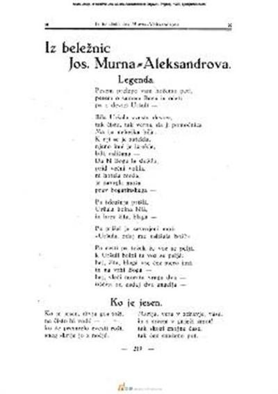 Iz beležnic Jos. Murna-Aleksandrova; Objavil I. Prijatelj