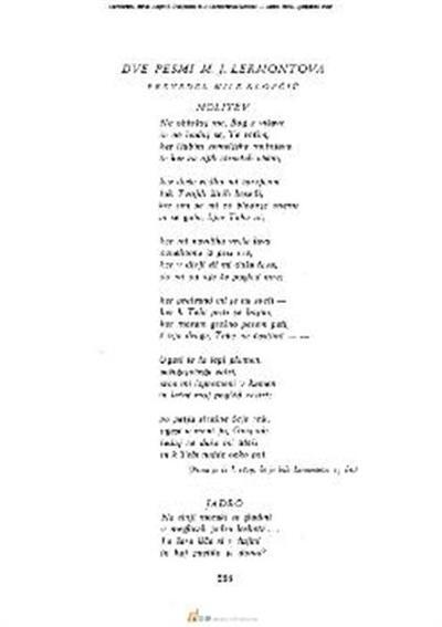 Dve pesmi M.J. Lermontova; Molitev. — Jadro