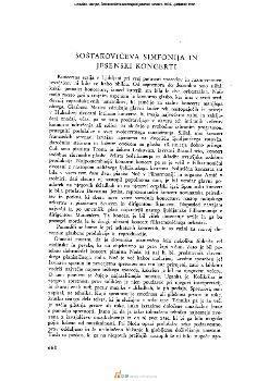 Šoštakovičeva simfonija in jesenski koncerti