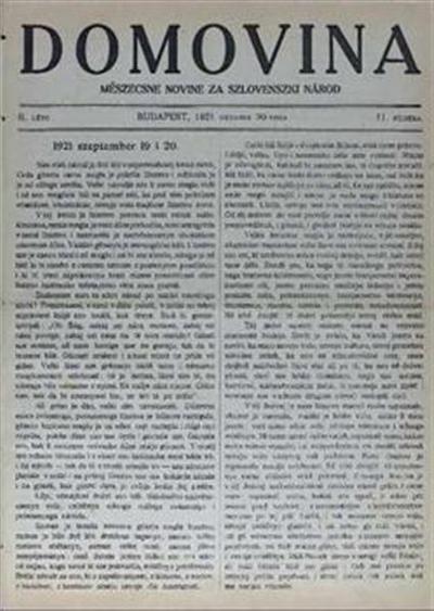 Image from object titled Domovina; meszecsne novine za szlovenszki národ