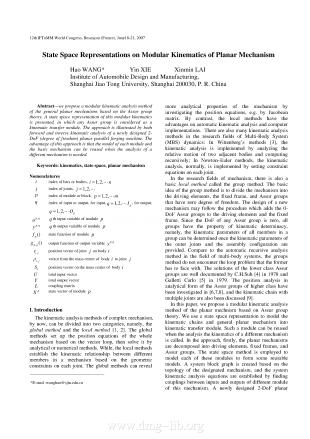 State Space Representations on Modular Kinematics of Planar Mechanism.