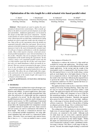 Optimization of the wire length for a skid actuated wire based parallel robot