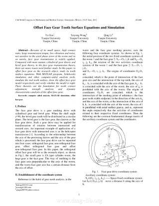Offset Face Gear Tooth Surface Equations and Simulation