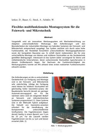 Flexibles multifunktionales Montagesystem für die Feinwerk- und Mikrotechnik