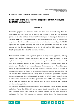 Estimation of the piezoelectric properties of thin AlN layers for