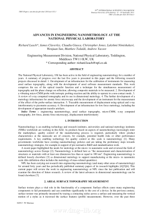 Advances in engineering nanometrology at the National Physical Laboratory