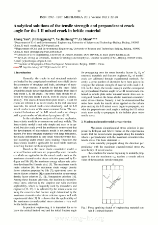 Analytical solutions of the tensile strength and preponderant crack angle for the I-II mixed crack in brittle material