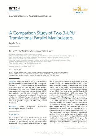 A Comparison Study of Two 3-UPU Translational Parallel Manipulators; Eine Vergleichsstudie von zwei 3-UPU translationalen Parallelmanipulatoren; Uno studio comparativo di due manipolatori paralleli traslazionali  tipo 3-UPU