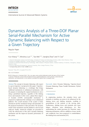 Dynamics Analysis of a Three-DOF Planar Serial-Parallel Mechanism for Active Dynamic Balancing with Respect to a Given Trajectory; Analisi dinamica di un meccanismo piano seriale-parallelo  a tre gradi di libertà per il...
