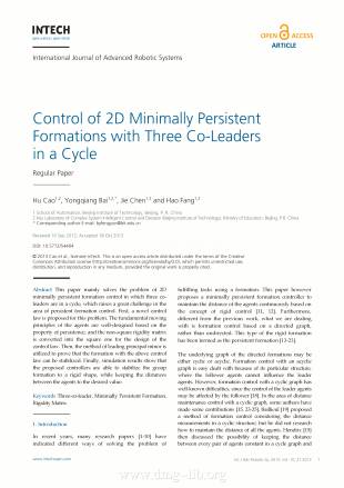 Control of 2D Minimally Persistent Formations with Three Co-Leaders in a Cycle; Controllo di formazioni 2D a minima persistenza con tre co-leaders in un ciclo