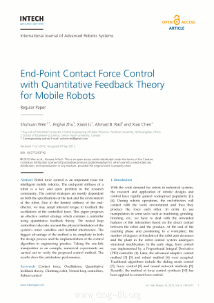 End-Point Contact Force Control with Quantitative Feedback Theory for Mobile Robots; Controllo della forza di contatto al punto terminale con la teoria della retroazione quantitativa per robot mobili