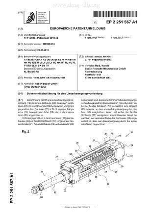 Schmiermittelzuführung für eine Linearbewegungsvorrichtung; Lubricant supply for a linear movement device; Transport de lubrifiant pour un dispositif de déplacement linéaire