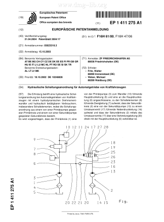 Hydraulische Schaltungsanordnung für Automatgetriebe von Kraftfahrzeugen; Hydraulic control system for automatic transmission; Dispositif de commande hydraulique pour boîte de vitesses automatique