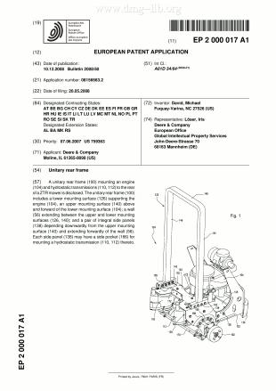 Einheitlicher Hinterrahmen; Unitary rear frame; Châssis arrière unitaire