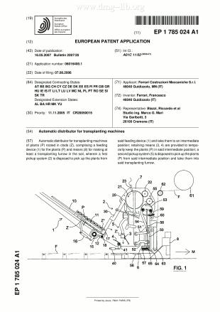 Automatischer Verteiler für Pflanzmaschinen; Automatic distributor for transplanting machines; Distributeur automatique pour machines de plantation