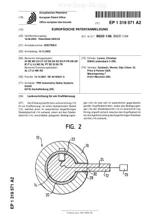 Lenkvorrichtung für ein Kraftfahrzeug; Steering device for a vehicle; Dispositif de direction pour véhicule automobile