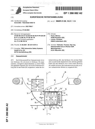 Gassackmodul; Airbag module; Module de coussin gonflable