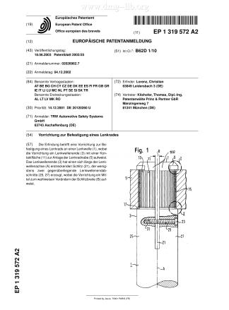 Vorrichtung zur Befestigung eines Lenkrades; Device for mounting a steering wheel; Dispositif de fixation d'un volant de direction